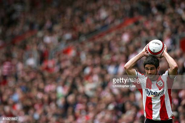 Andrew Surman of Southampton takes a throw in during the CocaCola Championship match between Southampton and Sheffield United at St Mary's Stadium on...