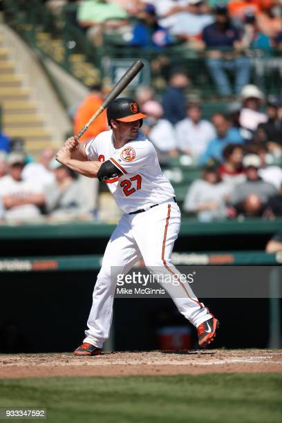 Andrew Susac of the Baltimore Orioles gets ready for the next pitch during the Spring Training game against the New York Yankees at Spectrum Field on...
