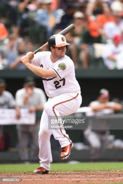 Andrew Susac of the Baltimore Orioles prepares for a pitch during a baseball game against the Washington Nationals at Oriole Park at Camden Yards on...