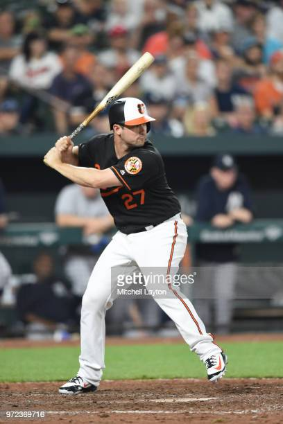 Andrew Susac of the Baltimore Orioles prepares for a pitch during a baseball game against the New York Yankees at Oriole Park at Camden Yards on June...
