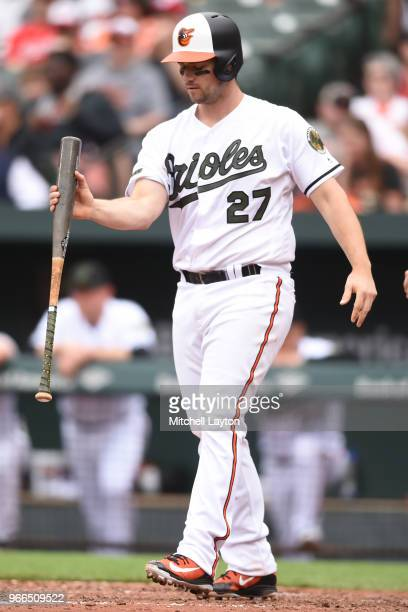 Andrew Susac of the Baltimore Orioles reacts to a pitch during a baseball game against the Washington Nationals at Oriole Park at Camden Yards on May...
