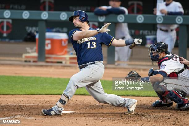Andrew Susac of the Milwaukee Brewers bats against the Minnesota Twins on August 7 2017 at Target Field in Minneapolis Minnesota The Twins defeated...