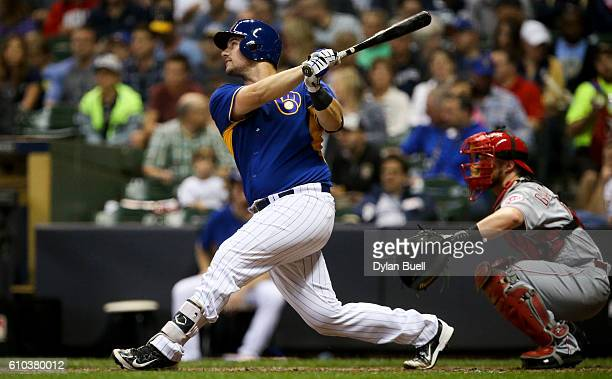 Andrew Susac of the Milwaukee Brewers lines out in the third inning against the Cincinnati Reds at Miller Park on September 23 2016 in Milwaukee...