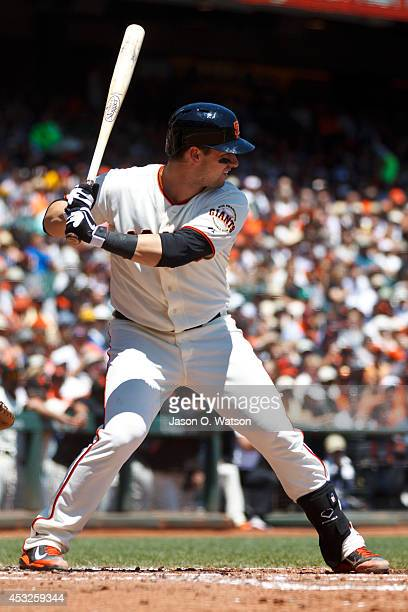Andrew Susac of the San Francisco Giants at bat against the Pittsburgh Pirates during the first inning at ATT Park on July 30 2014 in San Francisco...