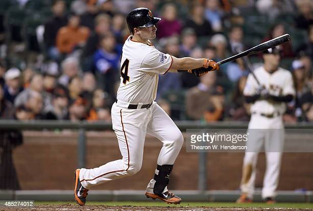 Andrew Susac of the San Francisco Giants hits a bases loaded threerun rbi double against the Chicago Cubs in the bottom of the eighth inning at ATT...