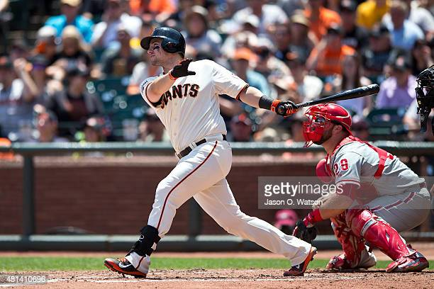 Andrew Susac of the San Francisco Giants hits a three run home run against the Philadelphia Phillies during the fourth inning at ATT Park on July 12...