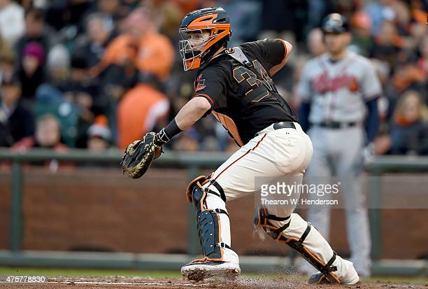 Andrew Susac of the San Francisco Giants in action against th eAtlanta Braves in the top of the third inning at ATT Park on May 30 2015 in San...
