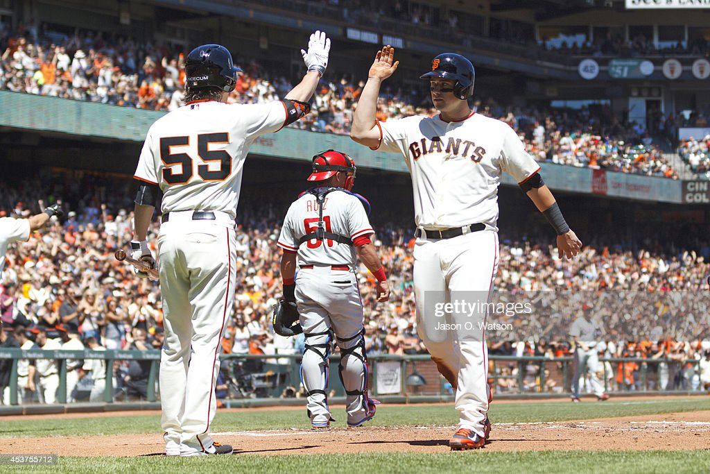 Andrew Susac #34 of the San Francisco Giants is congratulated by Tim Lincecum #55 after scoring a run against the Philadelphia Phillies during the second inning at AT&T Park on August 17, 2014 in San Francisco, California.