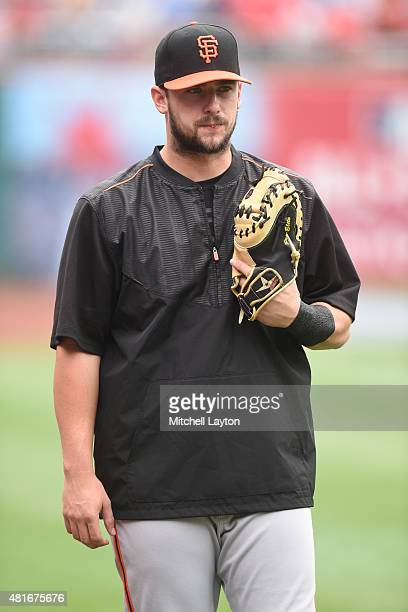 Andrew Susac of the San Francisco Giants looks on during batting practice of a baseball game against the Washington Nationals at Nationals Park on...