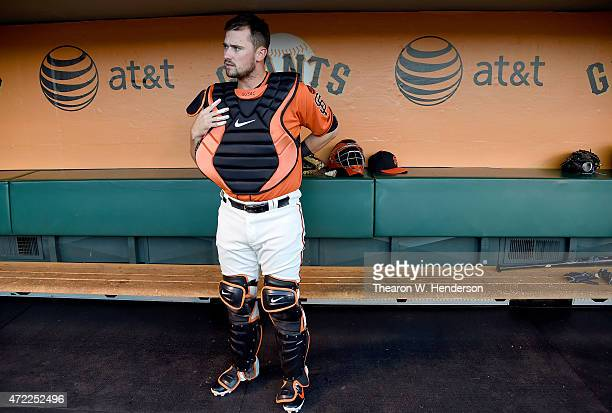 Andrew Susac of the San Francisco Giants prepairs for the game against the Los Angeles Angels of Anaheim at ATT Park on May 1 2015 in San Francisco...