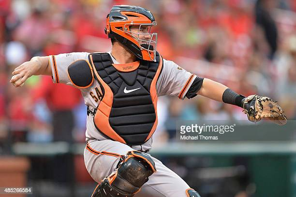 Andrew Susac of the San Francisco Giants throws during a game against the St Louis Cardinals at Busch Stadium on August 19 2015 in St Louis Missouri