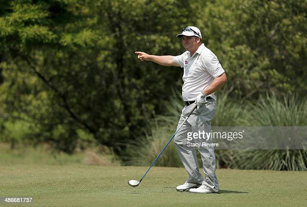 Andrew Svoboda takes his shot on the 10th during Round Two of the Zurich Classic of New Orleans at TPC Louisiana on April 25, 2014 in Avondale,...