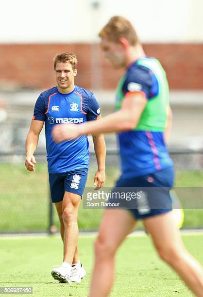 Andrew Swallow and Jack Ziebell of the Kangaroos look on during a North Melbourne Kangaroos AFL training session at Arden Street Ground on January 27...