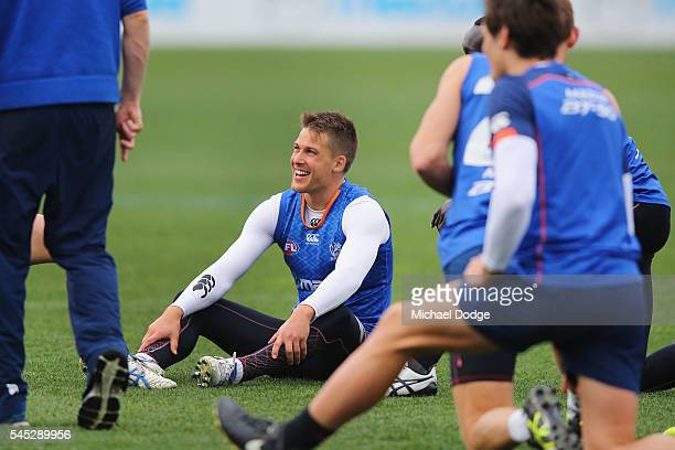 Andrew Swallow of the Kangaroos reacts during a North Melbourne Kangaroos AFL training session at Arden Street Ground on July 7 2016 in Melbourne...
