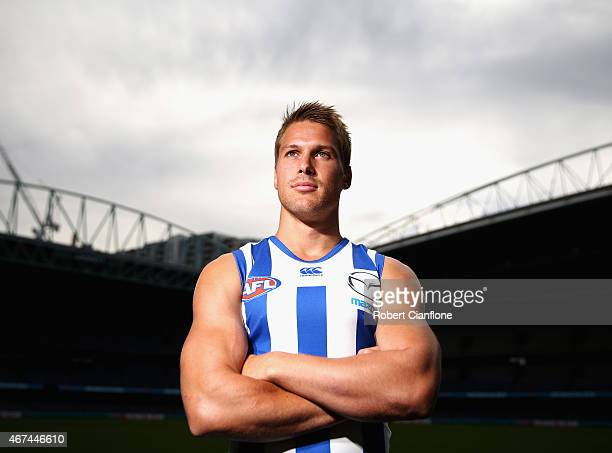 Andrew Swallow of the North Melbourne Kangaroos poses during the 20015 AFL Captains Interview Session at Etihad Stadium on March 25 2015 in Melbourne...