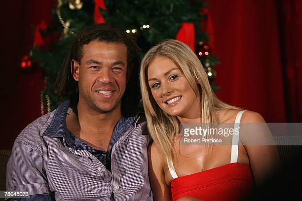 Andrew Symonds and partner Katie Johnson pose during the Australian cricket team Christmas lunch at Crown Casino on December 25 2007 in Melbourne...