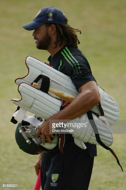 Andrew Symonds leaves the nets after batting practice during the Australian Cricket team training session held at Kensington Oval June 11 2008 in...