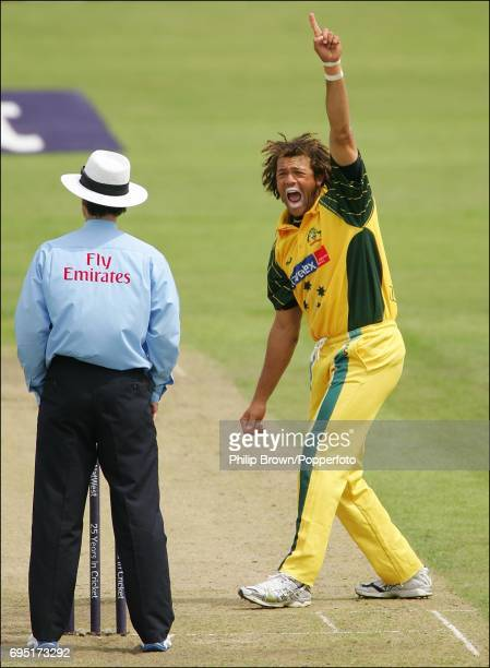 Andrew Symonds of Australia appeals on his way to five wickets during the NatWest Series One Day International between Australia and Bangladesh at...