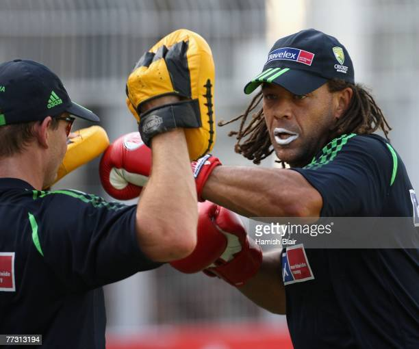 Andrew Symonds of Australia boxing during training at the VCA Stadium on October 13, 2007 in Nagpur, India.
