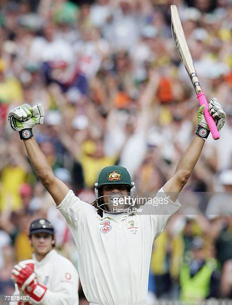 Andrew Symonds of Australia celebrates his maiden Test century during day two of the fourth Ashes Test Match between Australia and England at the...