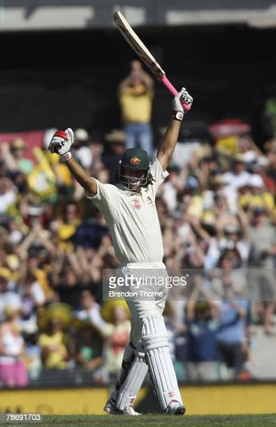 Andrew Symonds of Australia celebrates scoring a century during day one of the Second Test match between Australia and India at the Sydney Cricket...
