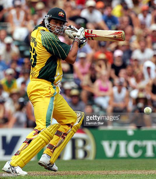 Andrew Symonds of Australia in action during the 3rd One Day International between New Zealand and Australia played at Eden Park on February 26 2005...