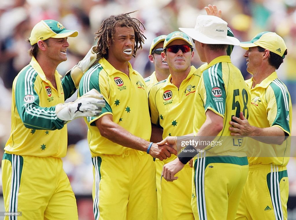 Andrew Symonds of Australia is congratulated by team mates on the wicket of Jehan Mubarak of Sri Lanka during game seven of the VB Series between Australia and Sri Lanka played at the Adelaide Oval on January 26, 2006 in Adelaide, Australia.