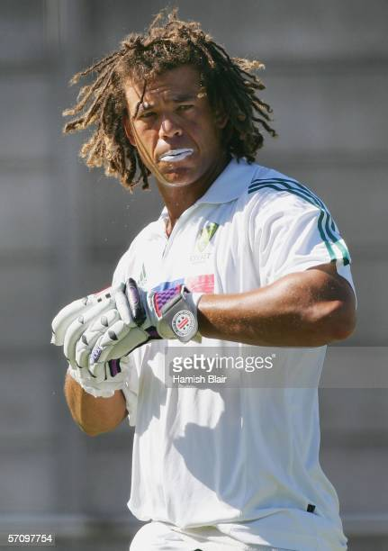 Andrew Symonds of Australia looks on during training at Newlands Cricket Ground on March 15 2006 in Cape Town South Africa