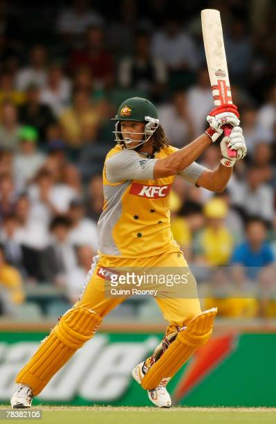 Andrew Symonds of Australia plays a cut shot during the Twenty20 International match between Australia and New Zealand held at the WACA December 11...