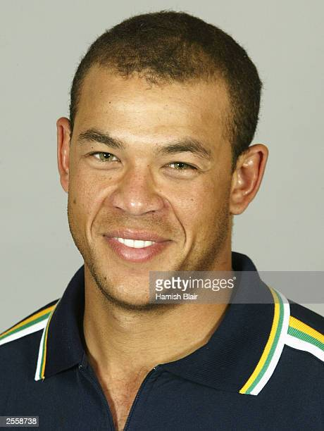 Andrew Symonds of Australia poses for a portrait during the Australian Cricket Team Training Camp at the Hyatt Hotel on October 3 2003 in Perth...