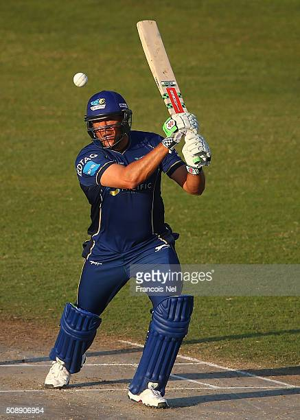 Andrew Symonds of Capricorn bats during the Oxigen Masters Champions League match between Virgo Super Kings and Capricorn Commanders on February 7...