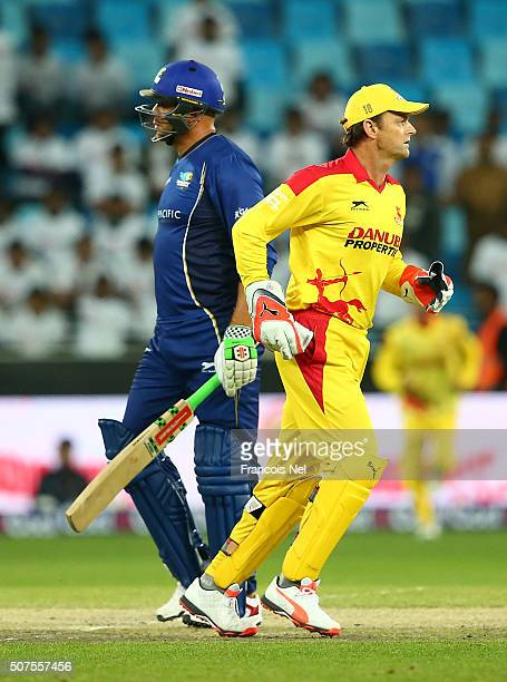 Andrew Symonds of Capricorn Commanders leaves the pitch after being dismissed during the Oxigen Masters Champions League match between Sagittarius...