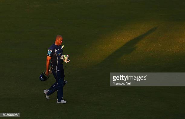 Andrew Symonds of Capricorn leaves the field during the Oxigen Masters Champions League match between Virgo Super Kings and Capricorn Commanders on...