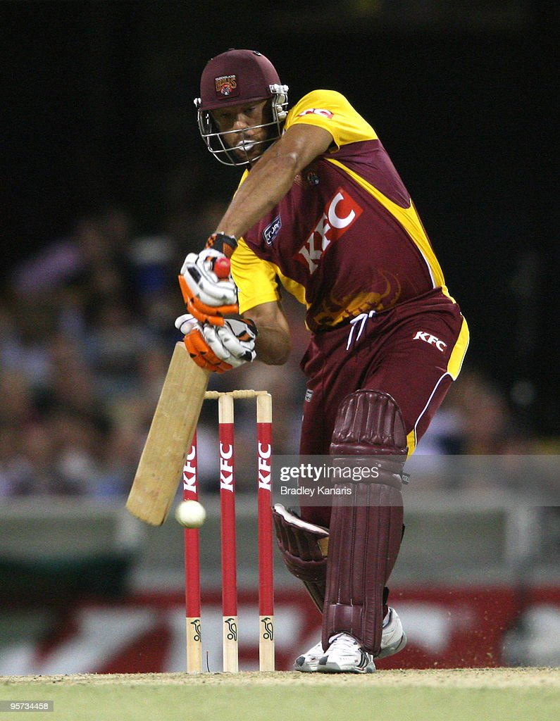 Andrew Symonds of the Bulls drives during the Twenty20 Big Bash match between the Queensland Bulls and the Tasmanian Tigers at The Gabba on January 8, 2010 in Brisbane, Australia.