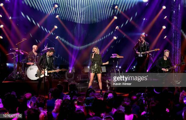 Andrew Taggart Alex Pall of The Chainsmokers and Kelsea Ballerini perform onstage during Dick Clark's New Year's Rockin' Eve With Ryan Seacrest 2019...