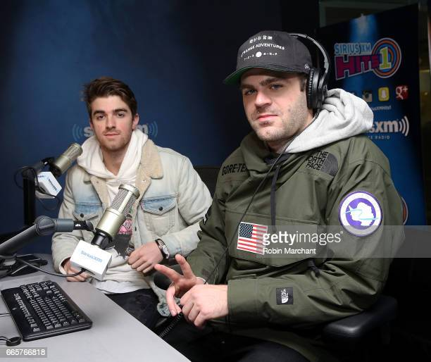 Andrew Taggart and Alex Pall of DJ/producer duo The Chainsmokers visits SiriusXM's Hits 1 at SiriusXM Studios on April 7 2017 in New York City