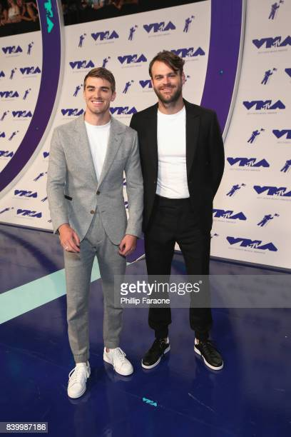Andrew Taggart and Alex Pall of music group The Chainsmokers attend the 2017 MTV Video Music Awards at The Forum on August 27 2017 in Inglewood...