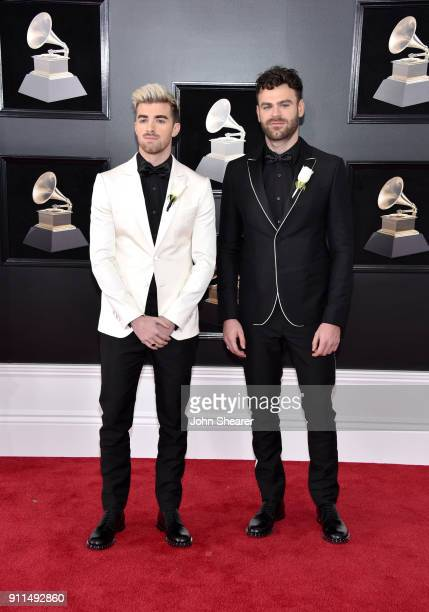 Andrew Taggart and Alex Pall of musical group The Chainsmokers attend the 60th Annual GRAMMY Awards at Madison Square Garden on January 28 2018 in...