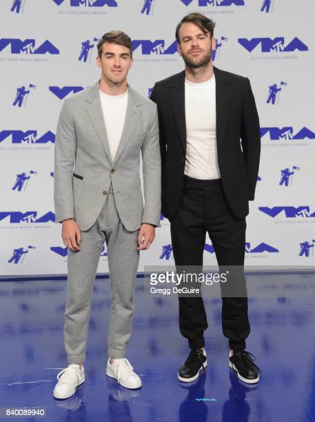Andrew Taggart and Alex Pall of The Chainsmokers arrive at the 2017 MTV Video Music Awards at The Forum on August 27 2017 in Inglewood California