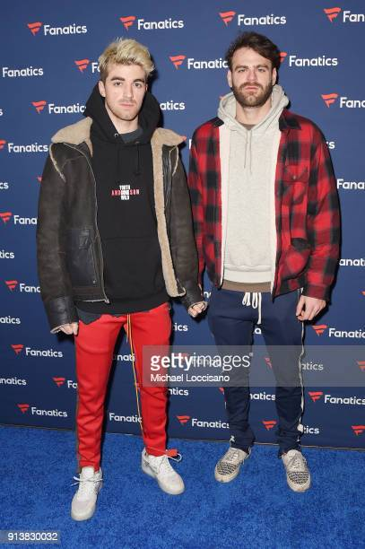 Andrew Taggart and Alex Pall of The Chainsmokers at the Fanatics Super Bowl Party on February 3 2018 in Minneapolis Minnesota