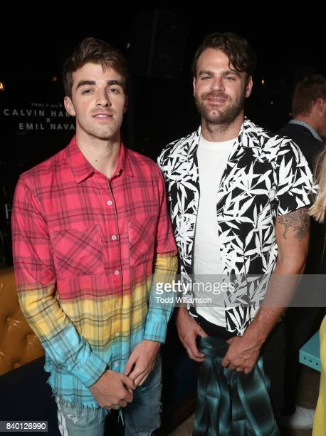 Andrew Taggart and Alex Pall of The Chainsmokers attend a Calvin Harris and Emil Nava MTV VMA Post Party with TIDAL x Sprint at the Highlight Room at...