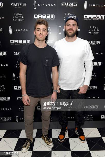 Andrew Taggart and Alex Pall of The Chainsmokers attend Dream Nashville's Grand Opening at Dream Hotel on March 7 2019 in Nashville Tennessee
