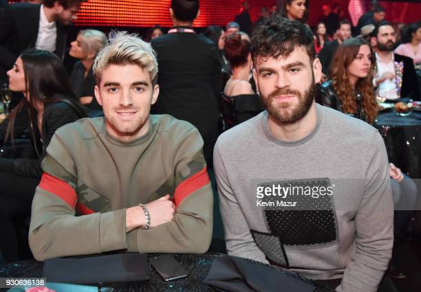 Andrew Taggart and Alex Pall of The Chainsmokers attend the 2018 iHeartRadio Music Awards which broadcasted live on TBS TNT and truTV at The Forum on...