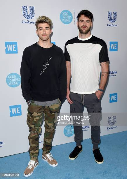 Andrew Taggart and Alex Pall of The Chainsmokers attend WE Day California at The Forum on April 19 2018 in Inglewood California