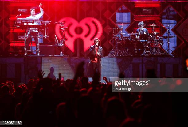 Andrew Taggart and Alex Pall of The Chainsmokers perform at Hot 995's iHeartRadio Jingle Ball 2018 at Capital One Arena on December 10 2018 in...