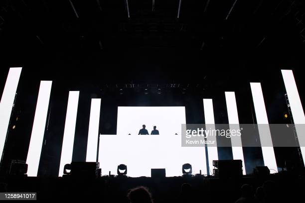 Andrew Taggart and Alex Pall of The Chainsmokers perform during the 'Safe & Sound' Drive-In Concert Fundraiser Presented by JAJA Tequila and In The...