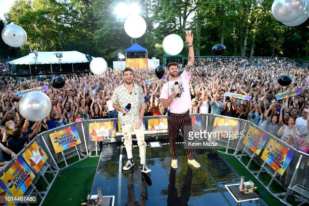 Andrew Taggart and Alex Pall of the Chainsmokers perform live on ABC's 'Good Morning America' at SummerStage at Rumsey Playfield Central Park on...