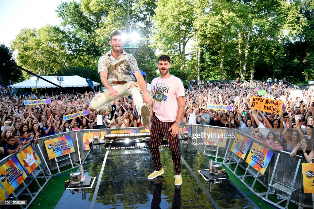 Andrew Taggart and Alex Pall of the Chainsmokers perform live on ABC's 'Good Morning America' at SummerStage at Rumsey Playfield, Central Park on August 10, 2018 in New York City.