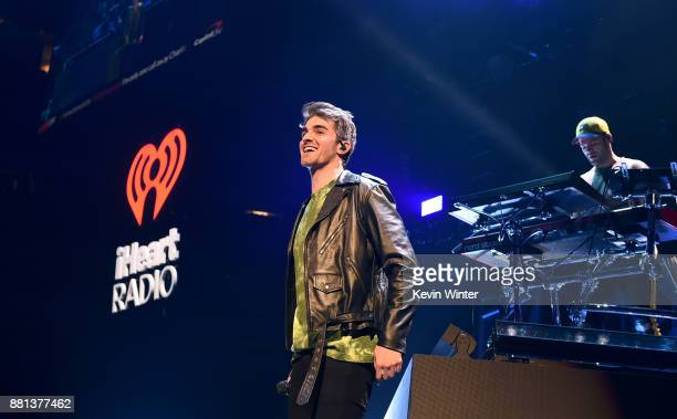 Andrew Taggart and Alex Pall of The Chainsmokers perform onstage at 1061 KISS FM's Jingle Ball 2017 Presented by Capital One at American Airlines...