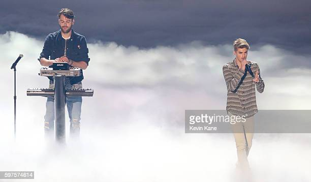 Andrew Taggart and Alex Pall of The Chainsmokers perform onstage during the 2016 MTV Video Music Awards at Madison Square Garden on August 28 2016 in...